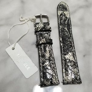 Michele Black Lace Leather Watch Band Strap